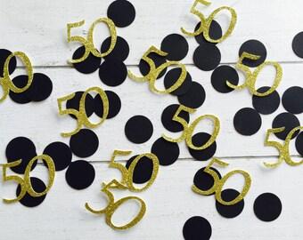 50 Birthday. Confetti. 50th birthday. Gold glitter confetti. Gold and black. Silver. 40th. 30th. 20th.