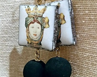 Lava stone earrings