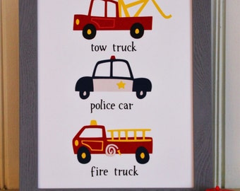Rescue Cars Kids' Room Wall Art - cars, trucks, boys nursery decor, boys room