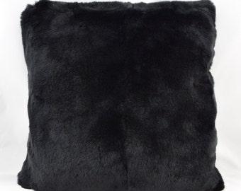 Fur pillows black Rex 35 × 35 rabbit rabbit fur coat fur pillows