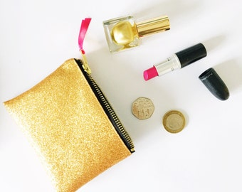 Gold glitter purse. Sparkly wallet.