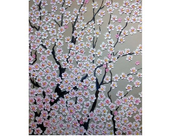 """Cherry Blossom Tree Branches  Original oil impasto painting white flowers on STRETCHED CANVAS  size 20"""" X 24""""  No.04-26 ready to hang"""