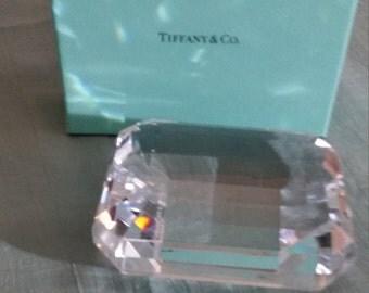 Tiffany Emerald Cut Crystal Paperweight