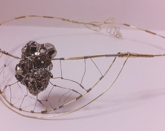 Pyrite crystal sculpted headpiece