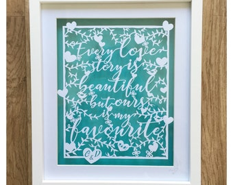 Handcut Art - Love Story - Original handcut Papercut Art, Wedding/Anniversary gift