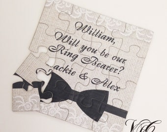 Rustic Personalized Ring Bearer proposal, Ask Ring Bearer, Will You Be Our Ring Bearer puzzle, Ring Bearer Invitation puzzle, wedding card
