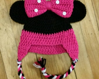 Crochet Minnie Mouse Hat/Minnie hat/baby Minnie Mouse inspired hat/crochet baby Minnie inspired hat