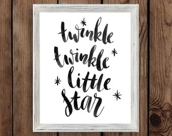 Twinkle twinkle little star print / baby room art nursery decor / baby shower gift / printable wall art / digital instant download