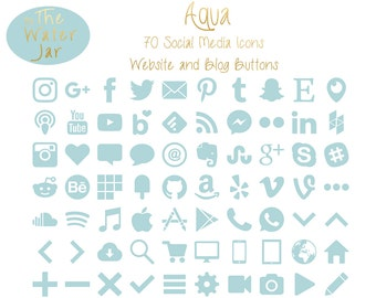 Blog Graphics, Aqua Blue Green Social Media Icons, Aquamarine Social Icons, Blue Green Website & Blog Resources, Blog buttons