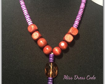 Shades of Purple Wooden Necklace