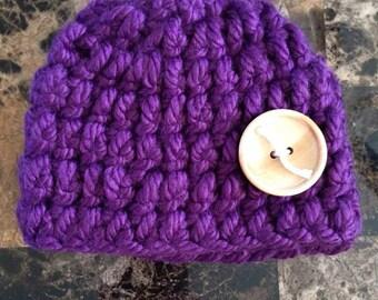 Purple newborn baby hat, newborn hat, baby hat, hat, newborn, baby, crocheted hat, crochet hat, crochet baby hat, crochet, purple