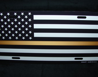 THIN GOLD LINE metal aluminum novelty car license plate tag Black And White  American Flag