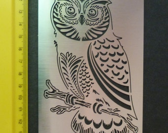 Stainless Steel Stencil Oblong Owl Bird Emboss