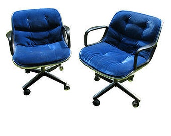 Knoll,Charles Pollack,vintage,mohair,chairs, set of 2