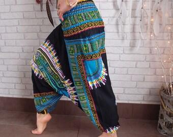 harem pants, music festival clothing, boheian gypsy pants, African print harems