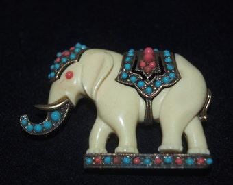 Elaborate Elephant Brooch