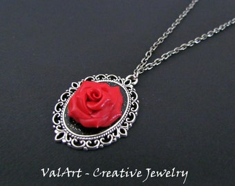 Cameo necklace red rose