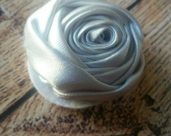 Small 1.5 Inch Grey Satin Rolled Rosette Flower - Satin Rosette - Rolled Rose Satin Flower