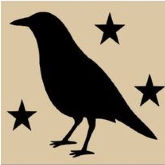 Pack Of 3 Primitive Crow With Stars Stencils Made From 4 Ply
