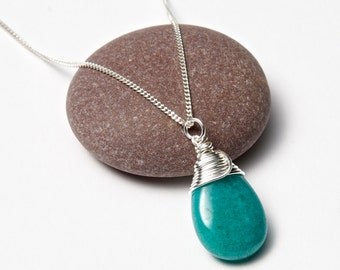 Turquoise teardrop necklace - Silver Wire Wrapped. Jasper Necklace. Teardrop Necklace. Wire Wrapped Pendant.