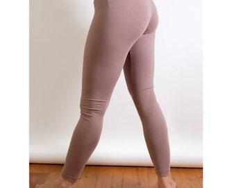 brown Organic hip Leggings, Jersey of organic cotton and elasthan, long legs, earth-brown, nature, earth, fair fashion, durable Leggings
