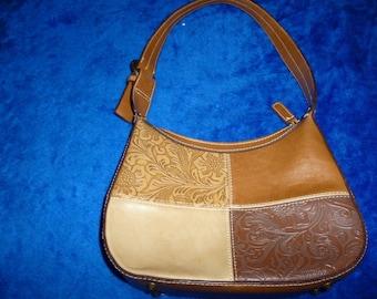 Beige tooled leather handbag by Kaos