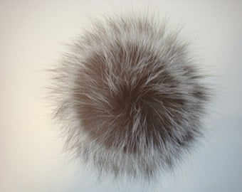 Luxury detachable real fur pom pom made from genuine silver fox fur for knitted hat, scarf or hood
