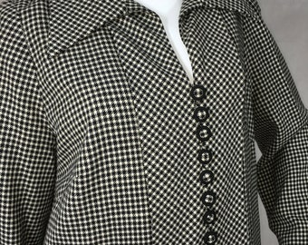 1960s Black White Dogtooth Check Coat Mod Vintage Size 16