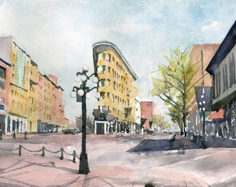 Watercolor of Gastown, Vancouver