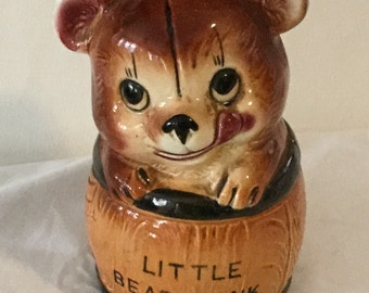 Vintage Ceramic Little Bear Bank Made in Japan