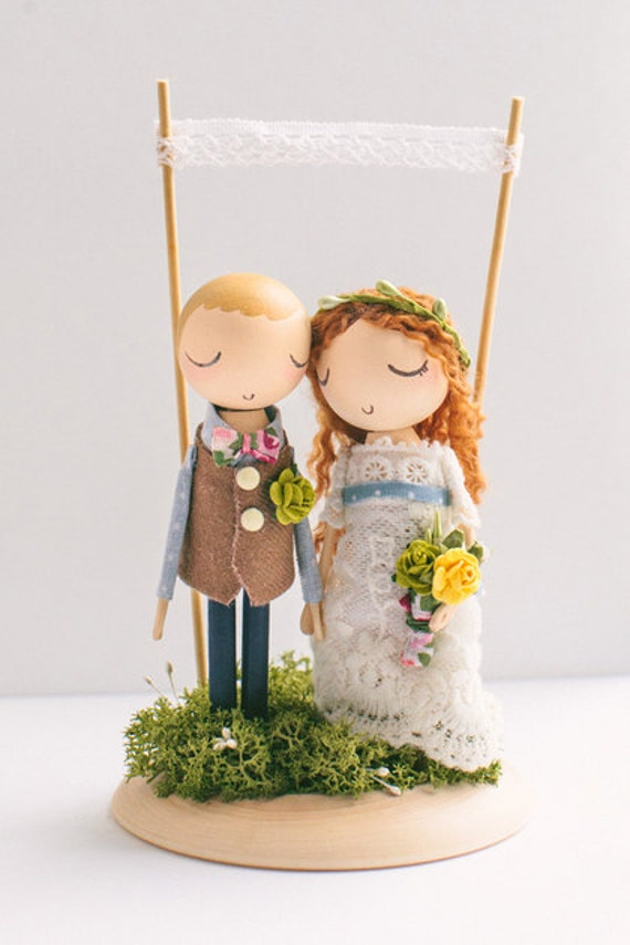wedding cake toppers wooden dolls custom orderwedding cake toppercake topperwooden 26642