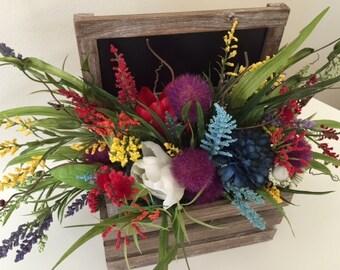 Farmhouse Rustic Chalkboard Spring/Summer Multi Color Flowers/Centerpiece/Floral Arrangement/Wood/Silk Flowers