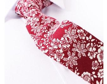 Skinny Red-White Floral Tie Boyfriend Gift Men's Gift Anniversary Gift for Men Husband Gift Wedding Gift For Him Groomsmen Gift for Friend