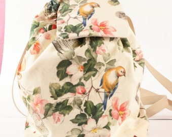 Backpack cotton bird Victorian style