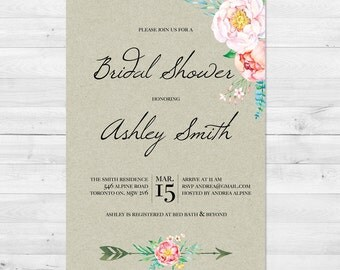 Bridal Shower Invitation, Bridal Shower Invite, Thank You Cards, Bridal Shower Kit, Recipe Card, Floral Bridal Shower Invitation