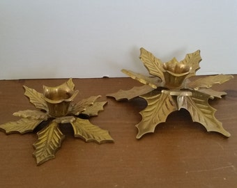 Brass Leaf Candle Holders, Solid Brass Candle Holders, Candle Stick Holders, Vintage Brass Decor