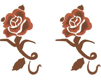 4 Small Henna Brown Rose Temporary Tattoos (#P354_4)