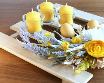Floral Arrangement with Candles.Flowers Table Arrangement. Artificial Yellow Flowers. Easter and Spring arrangement. Wood Discs.Wood Plaque.