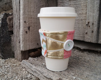 Reusable Coffee Cup Cozy ~*Pink and Gold Quilted Pattern*~