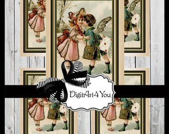 Greeting Card/Cards/Kiss/Kissing/Vintage/Valentine/Antique/Cute/Adorable/Heart/Love/DIY Printable Card/Vintage Collage/Collage/Blank Cards