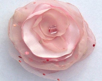 Pink Satin and Tulle Hair Flower Clip