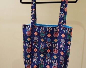 handmade Large Dream Catcher tote bag, shopping bag, beach bag, dream catcher print. fully lined bag.