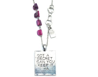 "Got a Secret Pretty Little Liars Inspired Pink Shell Beaded Charm 22"" Chain Necklace Silver Tone"