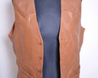 Scully Womens Leather Waistcoat, Size 38