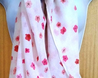 Pink Or White Blossom Print Scarf