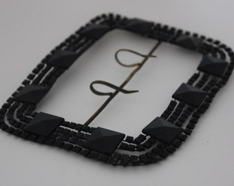 Vintage Black Jet Glass Buckle