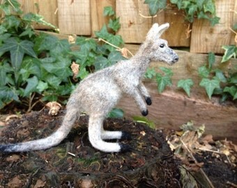 SOLD. Felt toy Kangaroo, felt natural wool toy, tiny soft sculpture miniature kangaroo, needle felted kangaroo