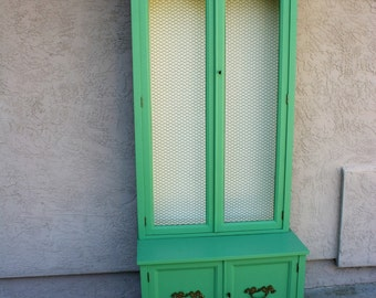 Hand painted teal/turquoise antique hutch