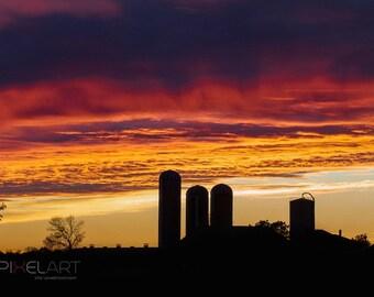 Farming sunset, farm, dairy farm, Digital download, instant download, farm landscape, farming photograph, farming picture, farm photo