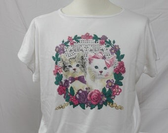 Kittens and Flowers vintage t-shirt